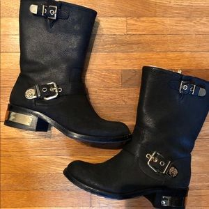 Vince CAMUTO Motor Boots with Gold Buckles